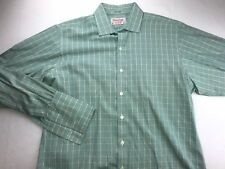 TM LEWIN & SONS MADE IN ENGLAND FRENCH CUFF DRESS SHIRT 16 - 34/35 TALL GREEN