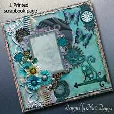 Steampunk Themed Scrapbook Page with Aqua Objects, Flowers & Butterflies