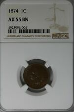 1874  .01  NGC   AU55BN  Indian Head Cent, Indian Small Cent, One Cent
