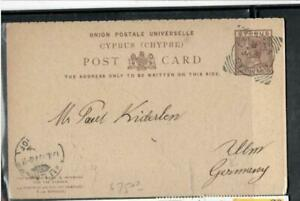 CYPRUS COVER (P3006B) 1899 QV 1 1/2PI REPLY PSC TO GERMANY NO MSG