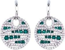 14k Oro Blanco Redondo Esmeralda & Diamante Pendientes Disco