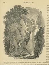ANTIQUE BIBLICAL BALAAM DONKEY WOODS ANGEL OF GOD SWORD LIGHT TREES ART  PRINT