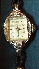 Elgin 21 Jewel 14k Solid White Gold Diamond Women's Watch
