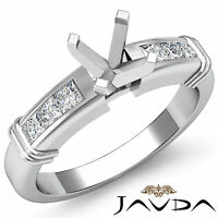 Diamond Engagement Channel Setting Ring Round Semi Mount 18k White Gold 0.40Ct