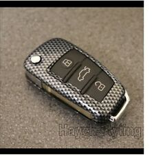 Carbon Fiber Flip Key Cover Case For Audi Shell Bag Hull Fob Skin Protection