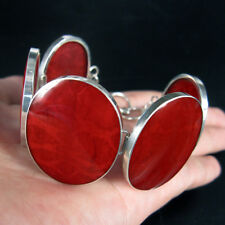 Large RED CORAL & 925 Sterling Silver Bracelet Jewellery, Modern Design
