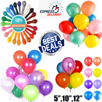"10-100 Plain,Pearl Metallic Latex Balloons 5""10""12"" Helium Wedding Party Balloon"