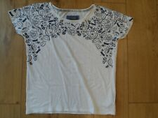 MARKS AND SPENCER PER UNA PURE COTTON WHITE & NAVY FLORAL T SHIRT SIZE 10