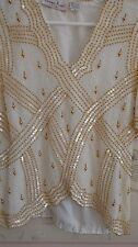 New Laurence Kazar Beaded Sequins White Silk Top Size M