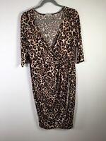 Kiyonna womens leopard print crossover pencil dress plus size 0 size US 10 au 14