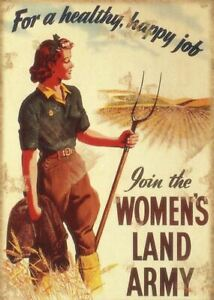 Womens Land Army Kitchen Garden Shed Wall Metal Plaque Sign Retro Vintage War