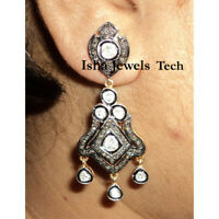 Natural Pave Diamond & Diamond Polki Gold 925 Sterling Silver Victorian Earrings
