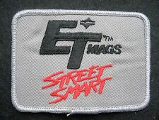 "ET MAGS  EMBROIDERED PATCH STREET SMART WHEELS CAR RACING GRAY 3 1/2"" x 2 3/4"""