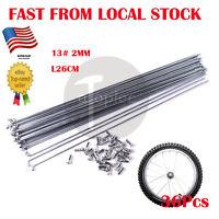 36Pcs 13# 2mm alloy Steel Bike Bicycle Spoke Spokes with Nipples 26 cm in US