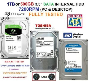 "1TB HDD | 500GB HDD | 3.5"" SATA HDD PC DESKTOP INTERNAL 7200RPM - FULLY TESTED"
