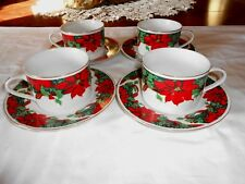 4 Gibson Designs Christmas Poinsettia Cups and Saucers Excellent Condition