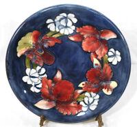 """Rare Vintage Antique Moorcroft Art Pottery Plate 10-1/4"""" Cobalt Blue Iris Orchid"""
