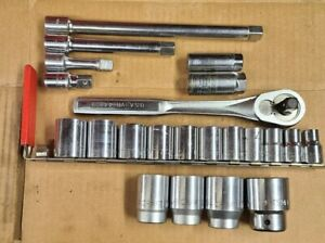 """24 PC. CRAFTSMAN LOT1/2"""" DR. SOCKET SET USA WITH RATCHET & EXTENSIONS"""