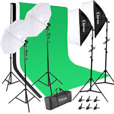 Photography Light Studio Backdrop Muslin Kit with SoftBoxes Umbrellas Equipment