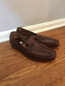 Johnston Murphy Sheepskin Brown Leather Weave Casual Loafers Shoes Mens 11.5 M