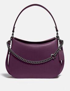 Coach 89178 Signature Chain Medium Hobo Bag Handbag Boysenberry Purple Violet