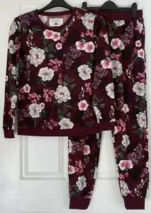 Stunning Ladies Floral Velvet/Silky Soft Full Length 2 Piece Pyjama Set PJs 8-10