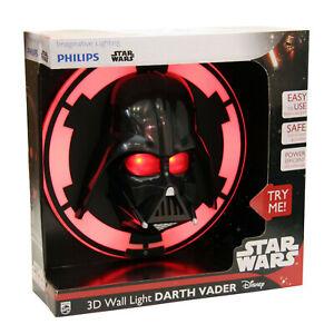 Star Wars 3d LED Darth Vader Lamp Wall Light Childrens Room Philips 7193630p0