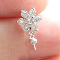 Diamond Flower 925 Pearl Pendant Mount Sterling Silver Women Necklace