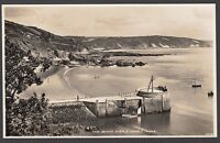 Postcard Looe near Polperro Cornwall view of The Banjo Pier and Sands RP