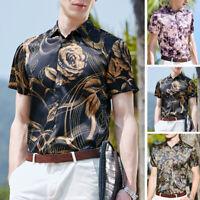 Men Stain Silk Floral Printed Shirt Short Sleeve Hawaii Causal Party T shirt Top