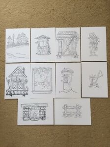10 X Hand Stamped Background Images Suitable For Magnolia Tilda Rubber Stamps