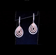 NEW PAIR OF 2 CARAT NATURAL DIAMOND DROP EARRINGS WITH AUTHENTICITY CERTIFICATE