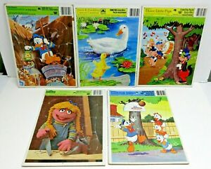 CHILDREN'S FRAME TRAY PUZZLES / LOT OF 5 / RANDOM PICTURES / DISNEY & OTHER