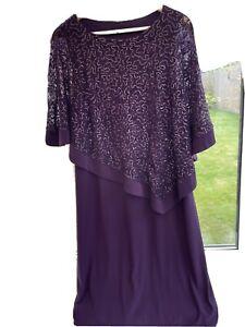 Designer ROMAN Purple MOTHER of the BRIDE Lace Cape Dress-20-Wedding Outfit/Race