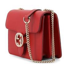 Gucci Women Handbag 510304 Cross body Interlock Red Leather Shoulder Bag Purse