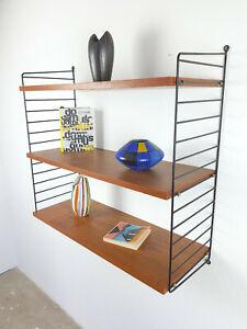 50er 60er System Shelf TEAK Wandregal Original String Nisse Regalsystem Regal