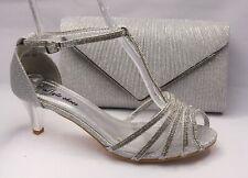 Zapatos de Danza Noche Zapatos Plata Tiras Con Aptas Bolso Novia 6683