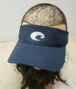 Costa Visor Navy Blue with Silver Logo Adult Golf Surf Cap Strap back One Size
