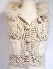 ALBERTO MAKALI Ivory Knit Vest Rabbit Fur Small / Medium