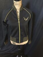Vintage Hurley Womens Large Black & Gold track/active wear dual zip up jacket