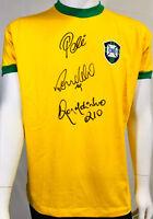 Brazil Pele, Ronaldo and Ronaldinho Signed Soccer Jersey - Auto Becket BAS LOA