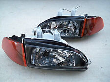Honda Civic EG EJ JDM Black Headlights + Smoked Amber Corners + SiR City Light