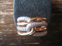 sehr edler breiter moderner Designer Ring 925er Silber Rosegold Zirkonia RG 63