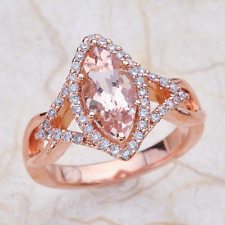 1.55ctw Marquise Cut Morganite Halo Engagement Ring in 14K Rose Gold