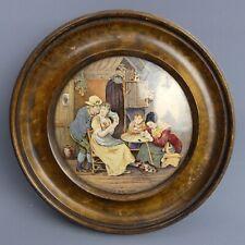 More details for victorian framed coloured prattware pot lid the best card c.1870