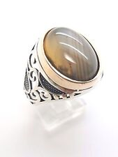 Tan White Stripe Agate 925 Sterling Silver BRZ HMD Turkish Ottoman Ring 12.5 US