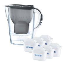 BRITA Marella MAXTRA+ Plus 2.4L Water Filter Jug + 6 Month Cartridges Pack, Grey