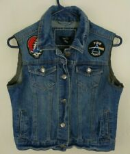 womens rock vest with patches led zeppelin pink floyd grateful dead small