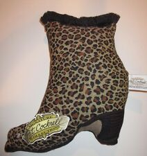 PAT COCKRELL Leopard Print Stuffed High Heel Shoe Pillow with Fringe !~ NWT!