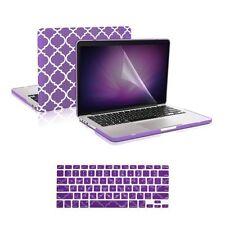 """Purple Quatrefoil Case +Keyboard Skin +LCD for Macbook Pro 13""""Retina A1425/A1502"""